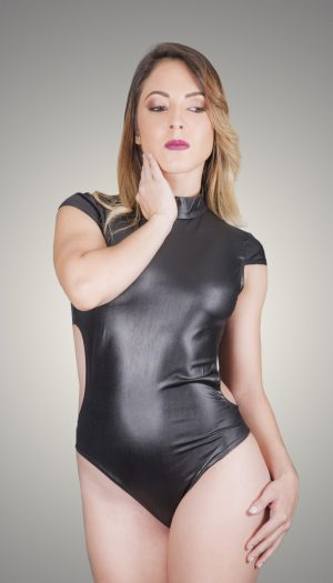 Leather Sleeve Bodysuit