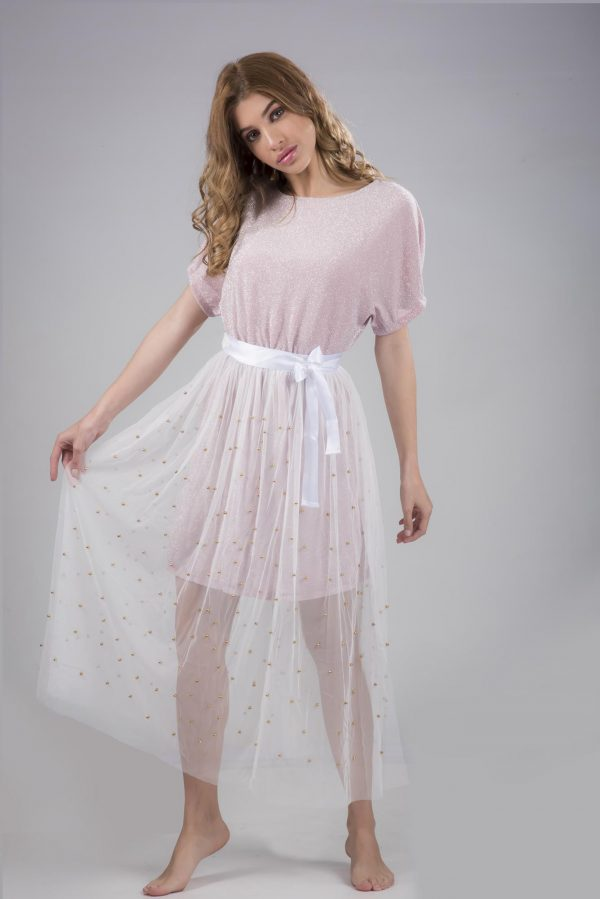 Pearl Beaded Top With Lace Skirt Two-Piece Set