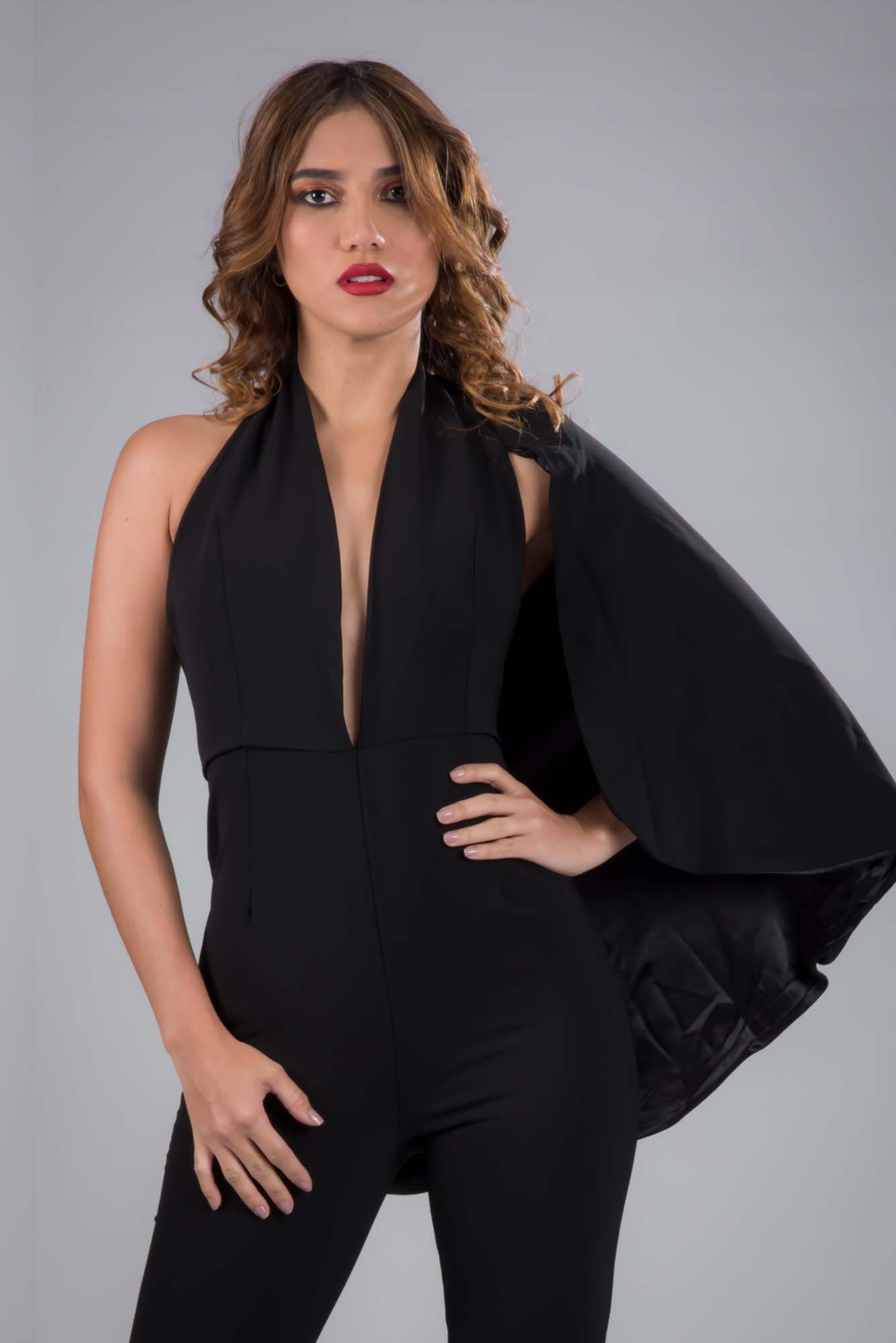 120afab6f09 Sophisticated One Shoulder Cape Black Jumpsuit