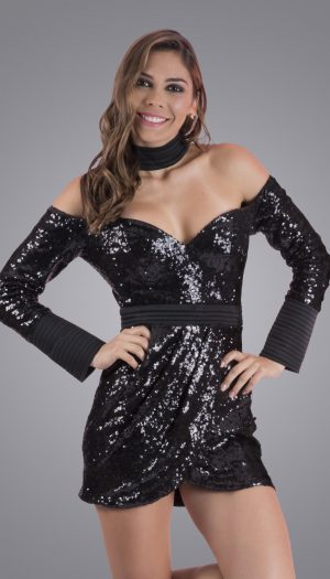 VIP Sequin Choker Dress - Black