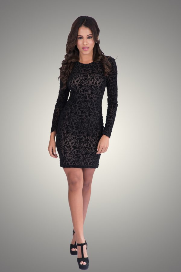 Velvet Bodycon Lace Design Dress