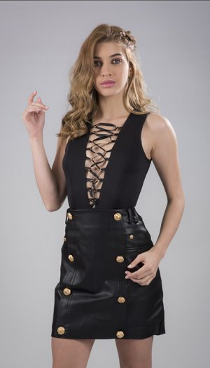 Eyelet Lace-up Bodysuit